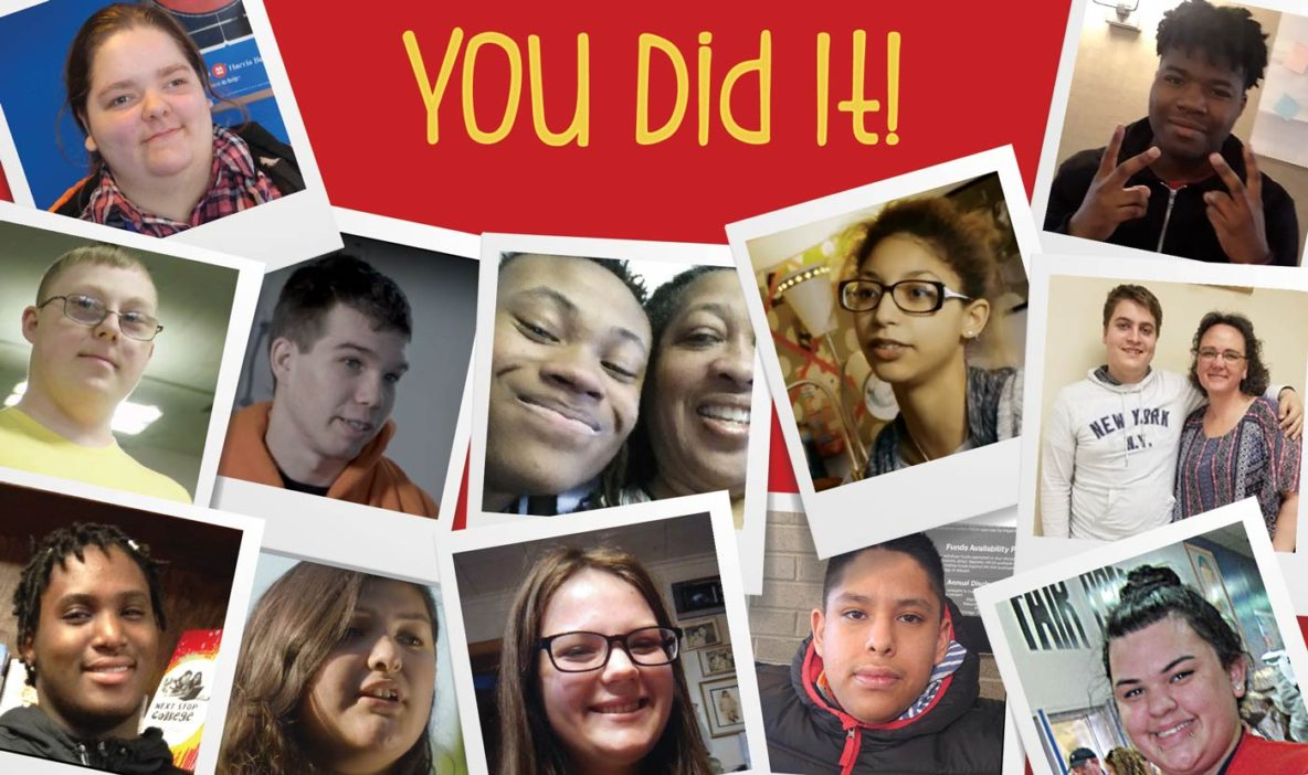 """collage of promise participants surround the statement """"you did it"""""""